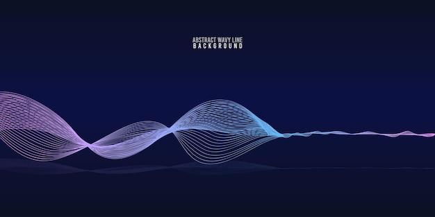 Abstrakte wellenlinien dynamisches fließendes buntes licht isoliert auf blauem hintergrund mit farbverlauf. vektorillustrationsgestaltungselement im konzept von musik, party, technologie, modern.