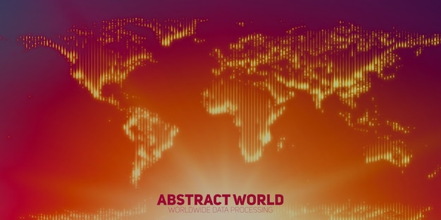 Abstrakte weltkarte aus leuchtenden punkten. kontinente mit einer fackel im boden