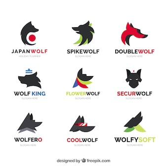 Abstrakte wolf logo kollektion