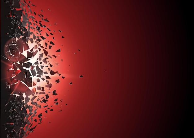 Abstrakte wolke von stücken und fragmenten nach explosion. splitter- und zerstörungseffekt. abbruchfläche und blitz. illustration
