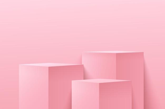Abstrakte würfelanzeige modern. rosa farbe des podiums 3d, die geometrische form wiedergibt