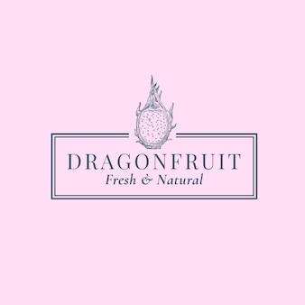 Abstrakte zeichen-, symbol- oder logo-schablone der drachenfrucht. hand gezeichnete sillhouette-skizze der exotischen früchte mit eleganter retro-typografie und rahmen. vintage luxus emblem.