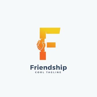 Abstrakte zeichen-, symbol- oder logo-schablone der freundschaft. handschlag in buchstabe f-konzept enthalten.