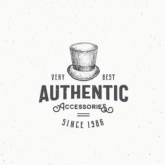 Abstrakte zeichen-, symbol- oder logo-schablone des authentischen zylinderhutes.