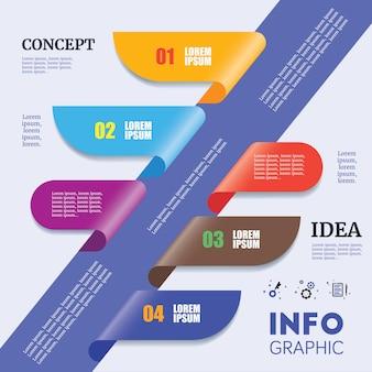 Abstrakte zeitachse infographic-schablone mit bunter papier-kunst