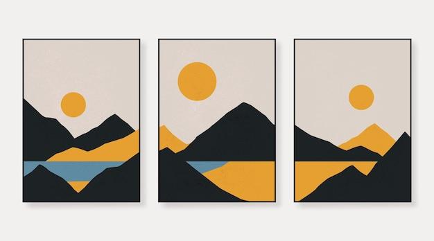 Abstrakte zeitgenössische ästhetische hintergründe landschaften mit sonnenaufgang sonnenuntergang
