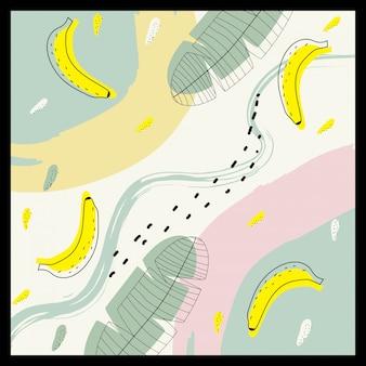 Abstrakte zeitgenössische kunst mit bananenmuster für hintergrund