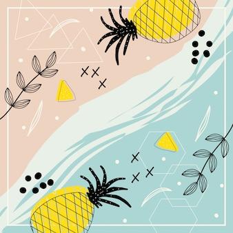 Abstrakte zeitgenössische kunst mit blumen und ananas für hintergrund