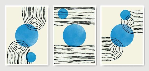 Abstrakte zeitgenössische mitte des jahrhunderts moderne form boho poster vorlage sammlung.