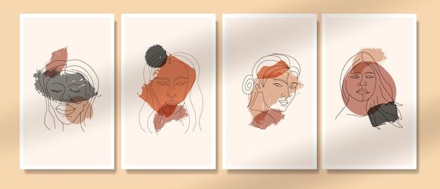 Abstrakte zeitgenössische mitte des jahrhunderts moderne gesichtslinienkunstporträts boho-plakatvorlagensammlung