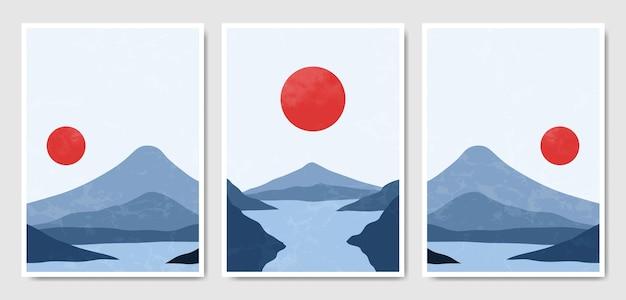Abstrakte zeitgenössische mitte des jahrhunderts moderne landschaft boho poster cover vorlage.