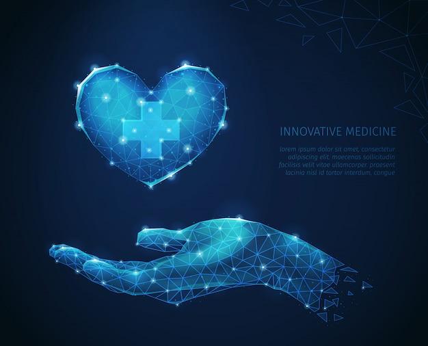 Abstrakte zusammensetzung der innovativen medizin mit polygonalen drahtgitterbildern der menschlichen hand, die sorgfältig herzvektorillustration hält