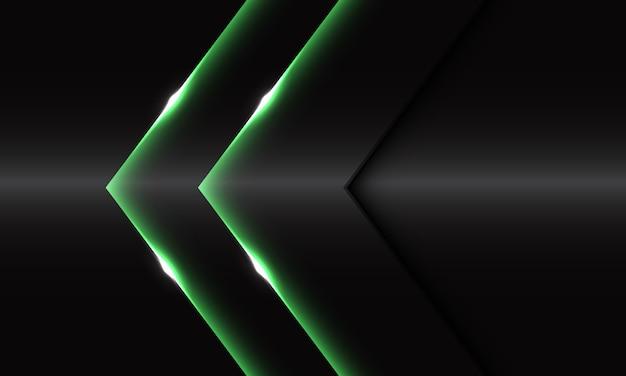 Abstrakte zwillingsgrün glänzende pfeilrichtung auf dem modernen luxusfuturismushintergrund des dunklen grauen metallischen entwurfs.