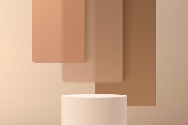 Abstrakter 3d beige zylindersockel oder standpodest mit braunem quadratischem glasüberlappungsschichtenhintergrund