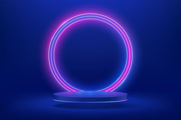 Abstrakter 3d dunkelblauer zylindersockel oder podium mit kreisförmig leuchtender neonbeleuchtung