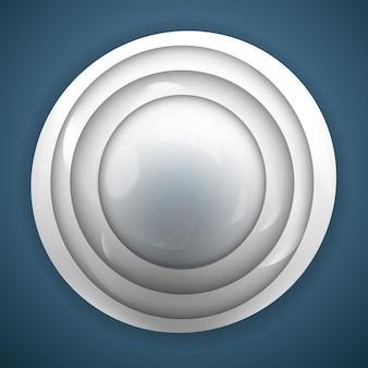 Abstrakter 3d-hintergrund für design mit realistischem grauem knopf