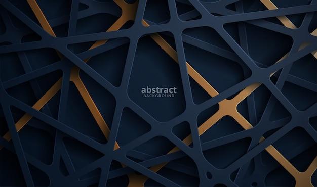 Abstrakter 3d hintergrund mit blauem papierschnitt. abstrakte realistische papierschnittdekoration strukturiert