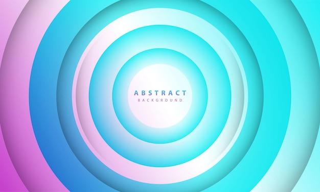 Abstrakter 3d-kreis papierschnitt schicht farbverlauf hintergrund blau und lila farbe. elegantes design in kreisform.