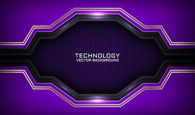 Abstrakter 3d lila und schwarzer technologiehintergrund mit metallischem linieneffekt auf dunklem raum