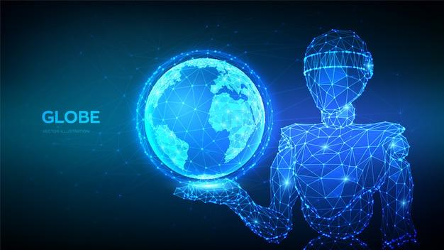 Abstrakter 3d niedriger polygonaler roboter, der planeten-erdkugel hält. globale netzwerkverbindung.
