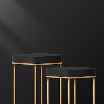 Abstrakter 3d-schwarz-gold-würfelsockel mit runder ecke oder standpodest mit luxuriöser dunkler minimaler szene
