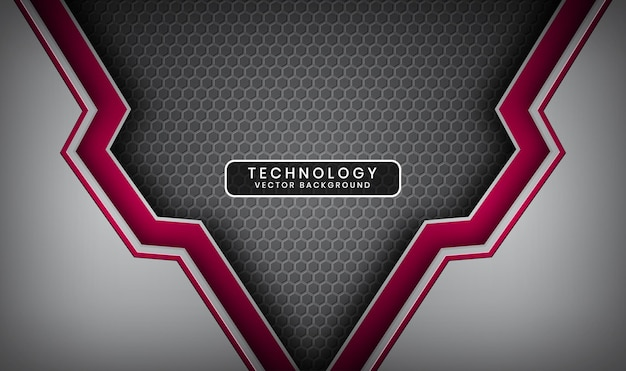 Abstrakter 3d silberner und roter technologiehintergrund mit überlappungsschicht und metallischen sechsecken