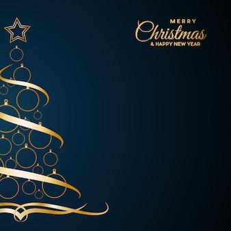 Abstrakter abdeckung goldener weihnachtsbaum, mit text auf blau