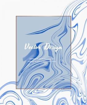 Abstrakter abdeckungsentwurf der blauen flüssigen tintenmalerei mit rahmen.