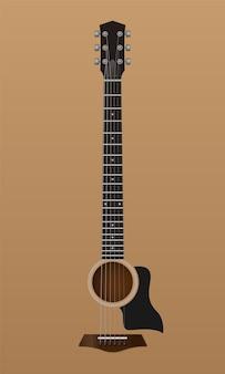 Abstrakter akustischer gitarrenhintergrund, vektorillustration