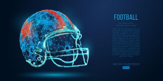 Abstrakter american-football-helm aus partikeln, linien und dreiecken. rugby.