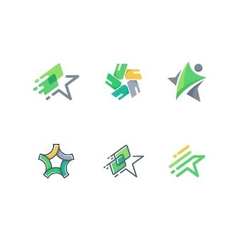 Abstrakter anfang, leute und karte logo pack vector template