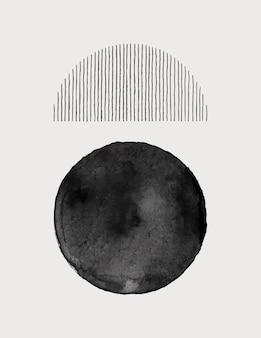 Abstrakter aquarell-kunst-hintergrund in einem trendigen minimalistischen stil. vektor handgezeichnete illustration in monochromen farben für vorlagen, poster, karten, cover, verpackungen, social media stories