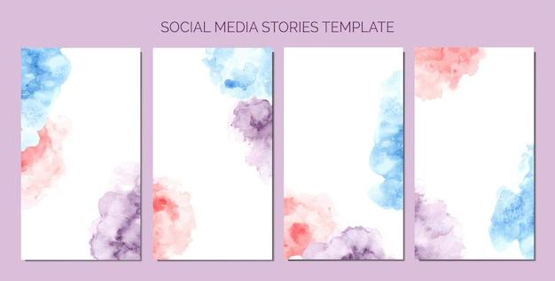 Abstrakter aquarellfleck der social-media-geschichten-vorlage