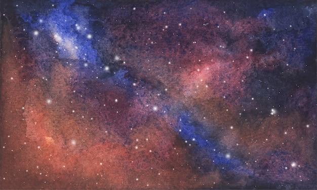 Abstrakter aquarellgalaxienhimmelhintergrund, kosmische beschaffenheit mit sternen. nachthimmel.