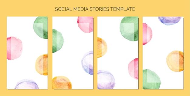 Abstrakter aquarellkreisfleck als hintergrund der social-media-geschichten-vorlage