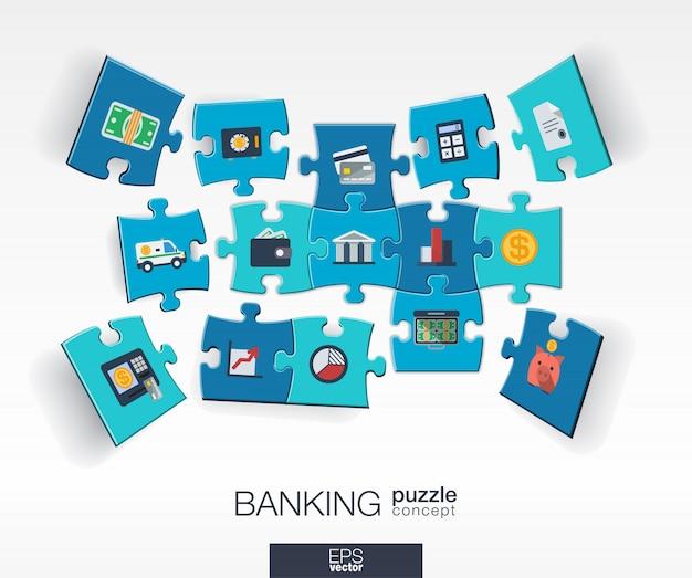 Abstrakter bankhintergrund mit verbundenen farbrätseln, integrierten symbolen. infografik-konzept mit geld-, karten-, bank- und finanzstücken in der perspektive. interaktive illustration.