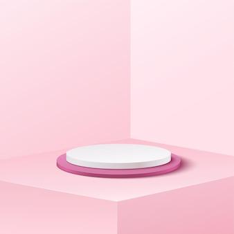 Abstrakter bannerhintergrund für werbeprodukt. weißer und weicher rosa hintergrund des leeren zylinderpodeststudios.