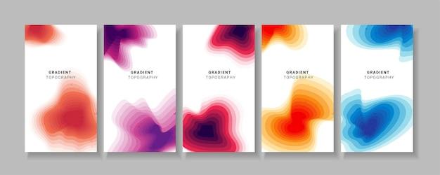 Abstrakter bannersatz mit buntem farbverlauf topografisch