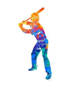 Abstrakter baseballspieler, der den ball aus dem spritzaquarell schlägt. illustration von farben.