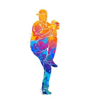Abstrakter baseballspieler, der den ball vom spritzen der aquarelle schlägt. illustration von farben.