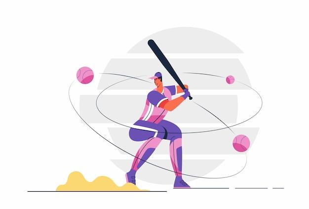 Abstrakter baseballspielermann mit ball, der teig mit schläger durchführt