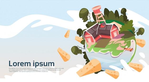 Abstrakter bauernhof mit haus, ackerland-landschafts-landschaftsfahne
