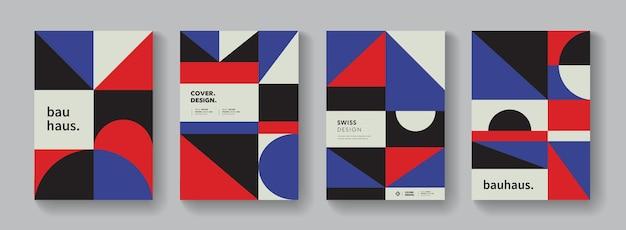 Abstrakter bauhaus-geometrischer muster-hintergrund. bunte schweizer designplakatsammlung. minimalistische formelemente.