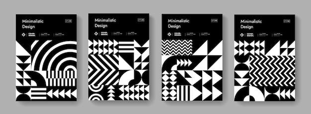 Abstrakter bauhaus-geometrischer muster-hintergrund. schwarz-weiß-posterkollektion für schweizer design. minimale monochrome formelemente.