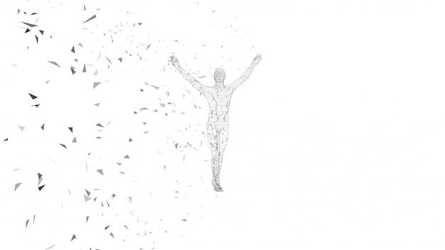 Abstrakter begrifflichmann mit den händen oben zeigend. verbundene linien, punkte, dreiecke, partikel. künstliche intelligenz-konzept.