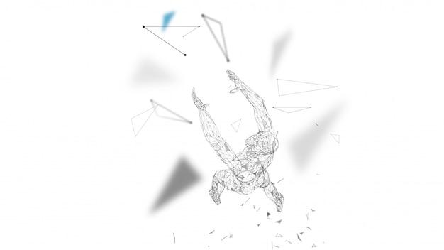 Abstrakter begrifflichmann mit den händen oben