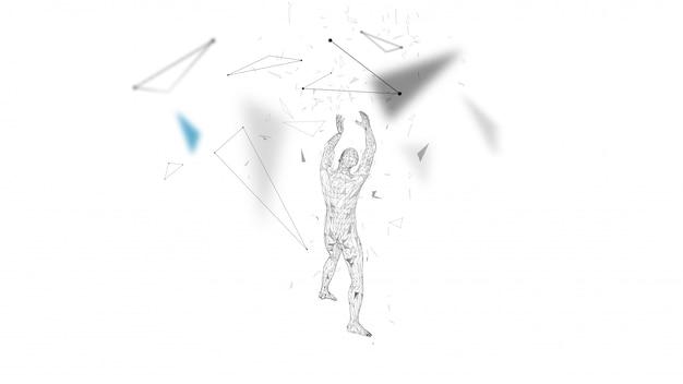 Abstrakter begriffsmann mit den händen oben