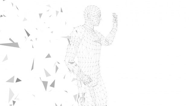 Abstrakter begriffsmann mit der hand oben zeigend