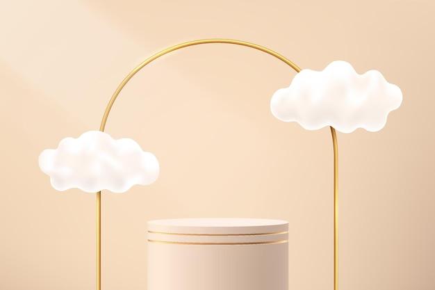 Abstrakter beige 3d-zylindersockel oder standpodest mit luxuriösen goldenen bögen und wolkenfliegen