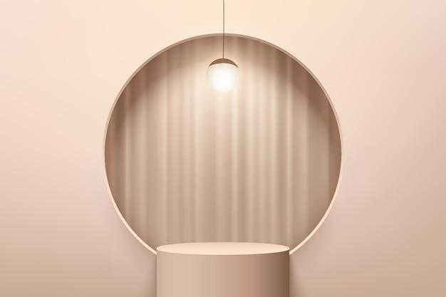 Abstrakter beige 3d-zylindersockel oder standpodest mit vorhang im kreisfenster und hängelampe